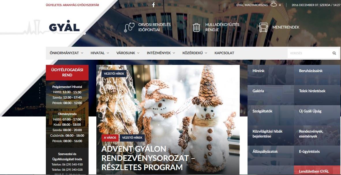 Megújult Gyál város honlapja | Gyal.hu