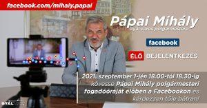 Élő fogadóórát tart Pápai Mihály polgármester
